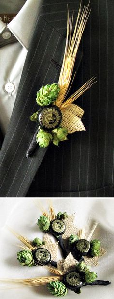 real beer hops & wheat boutonniere/lapel pin for grooms who love beer #wedding