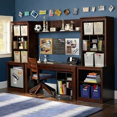 Not sure why there's a mini-fridge here (??) but what amazing storage space for books and supplies! We love that there's room for the laptop and room to write. source: PB teen