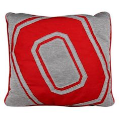 Ohio State Buckeyes Big Logo Reverse Applique Pillow - Gray/Scarlet