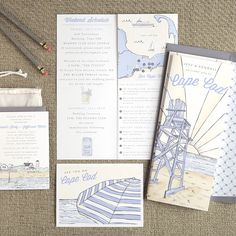 """Brides.com: . """"See You Cape Cod"""" custom illustrated wedding invitation suite, starting at $2,250 for 100 invitation suites, Swiss Cottage Designs"""