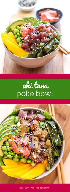 Channel all the Hawaiian island vibes with this fresh and flavour-packed Ahi Tuna Poke Bowl. It's a taste of aloha in your own kitchen! Clean Recipes, Fish Recipes, Seafood Recipes, Cooking Recipes, Healthy Recipes, Fresh Tuna Recipes, Cooking Pork, Cooking Games, Ahi Tuna Poke
