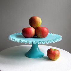Fenton Turquoise Silver Crest Milk Glass Cake Stand, 1950s Blue Milk Glass Cake Plate via Etsy