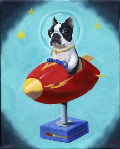 Boston Terrier in Space Print from Oil Painting by rubenacker, $18.00 ~~I may have to put this in my house....just for fun!!!