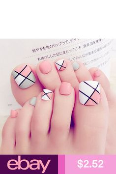 Find great deals for Foot False Nail Tips Cute Fake Toes Nails With Glue Toe Art Tool. Pretty Toe Nails, Cute Toe Nails, Toe Nail Art, Acrylic Nails, Pink Toe Nails, Pretty Toes, Nail Nail, Matte Nails, Stiletto Nails