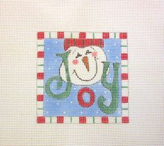 $13.95    Candy Cane Framed JOY Snowman in Snow Handpainted by MarsyesShoppe