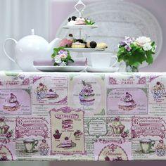 Teatime im Shabby Chic Look. Tischdecke: CUPCAKES von Sander.