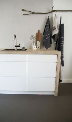 Could line a bunch of white malm ikea drawers with a wooden border - March 23 2019 at Kitchen Ikea, New Kitchen, Kitchen Interior, Ikea Duktig, Malm Dresser, Ikea Drawers, Kitchen Cabinet Knobs, Kitchen Dresser, Ikea Malm