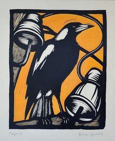 Bruce Goold 'Magpie 2,' 1986 Linocut, 42 x 34 cm'Magpie 2