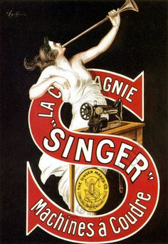 Singer Vintage Sewing Machine Poster - Advertising poster for a long lasting brand.