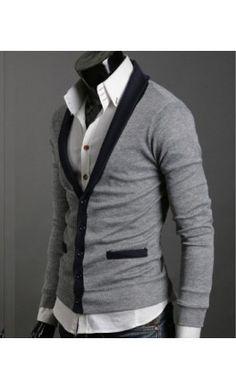 Men's Contrast Button up Cardigan