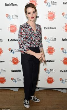 Spring fashion: Claire Foy sported a colourful floral blouse which she tucked into a pair of black slacks at she appeared at the BFI & Radio Times TV Festival in London on Saturday