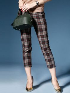 Streetstyle Skinny Plaid Cropped Pants with Pocket - StyleWe.com