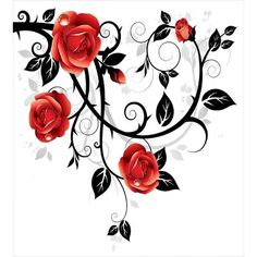 Gothic Decor Ornate Swirling Branches with Roses Garden Floral Gothic Grunge Style European Artwork Red Black Dining Room Kitchen Rectangular Table Cover Home Decor Rose Vines, Red Rose Drawing, Vine Tattoos, Rose Images, Tapestry Wall Hanging, Photomontage, Duvet Cover Sets, Floral Design, Clip Art