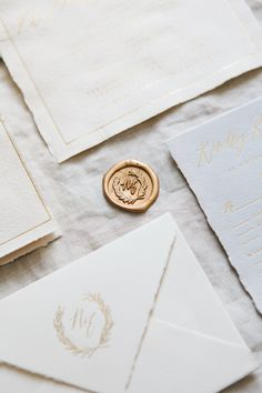 Calligraphy and Design by: Written Word Calligraphy // Custom Wax Seal // Olive Branch Monogram