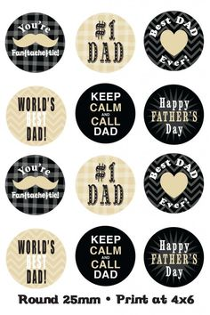 Free Printables for Father's Day. These would be cute under clear stones for magnets.