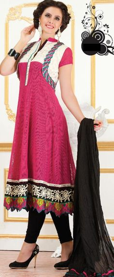 Pink Short Sleeve Super Net Long Anarkali Salwar Kameez
