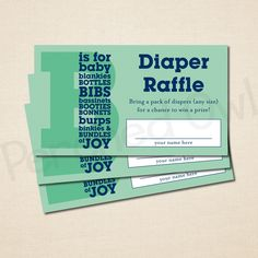 Instant Download  B Is For Baby Diaper Raffle Ticket  Baby