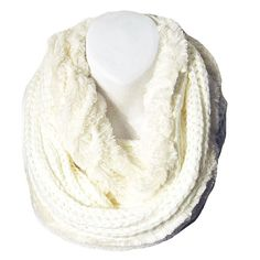 Tigerstars l $21.99 SoftWhite Faux Fur And Knit Double Loop Infinity Scarf