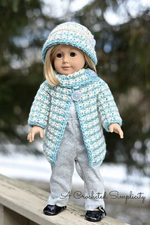 """American Girl 18"""" Doll houndstooth jacket and hat crochet pattern"""