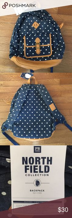 PBTeen North Field collection PBteen North Field backpack navy blue with white dots and tan trim. Details include - metal zipper closure/ exterior front faux buckle snap closer flap pocket/ padded back panel/ carry handle. New with tags! PBteen Bags Backpacks
