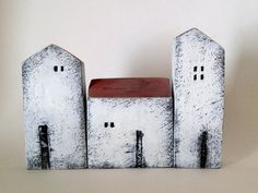 set of 3 ceramic houses  made in high fired by VesnaGusmanClayArt,