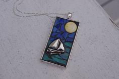Mosaic Pendant - Sailboat Mosaic Necklace