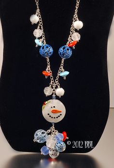 $168  Let It Snow Charm Necklace - Handmade lampwork art beads, jewelry & supplies by Bastille Bleu Lampwork