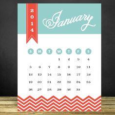 Free Printable 2014 Calendar In a Modern Design!