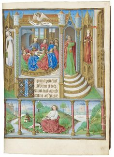 Synagoga (Judaism) and Ecclesia (Church) Flank the Last Supper, from a Book of Hours, Paris use, in Latin and French Northeastern France or Paris, ca. 1465 Illuminated by the Master of Jacques de Luxembourg The Morgan Library & Museum, New York; MS M.1003, fol. 13