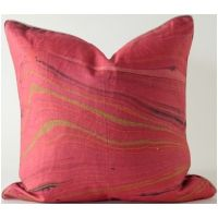 Watermark Pink, Green & Black 20x20 Pillow