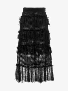 PHILOSOPHY DI LORENZO SERAFINI Lace Ruffle Net Skirt. #philosophydilorenzoserafini #cloth #