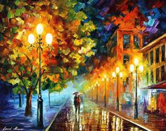 "ROMANTIC NIGHT — PALETTE KNIFE Oil Painting On Canvas By Leonid Afremov - Size 24""x30"" (75cm x 60cm)"