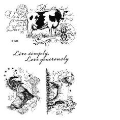 "Close to My Heart My Acrylix Stamp Set Country Life  Set of 4  Recommended My Acrylix® Blocks:  1"" × 3½"" (Y1002), 3"" × 3"" (Y1006), 4"" × 5"" (Y1012)    $13.95"