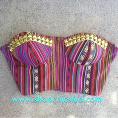 Studded Bustier Crop Top Tank Top - Southwest Woven Print-  Zipper Front - Gold, Black or Silver Studs-
