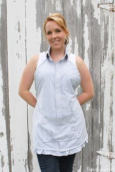 Keep your clothes spic and span while you cook with a DIY apron. These free apron patterns will show you how to sew a variety of aprons in every style imaginable, from the kitchen to the garden. Take a look at our collection of apron sewing patterns. Men's Shirt Apron, Dress Shirt, T Shirt, Sewing Aprons, Sewing Clothes, Men Clothes, Sewing Men, Hand Sewing, Free Sewing