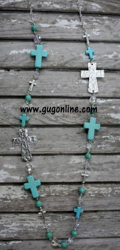 Silver and Turquoise Cross Necklace www.gugonline.com $14.95