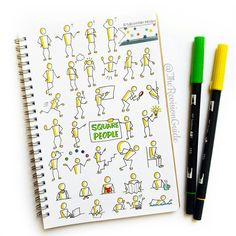 Square people Apsi's sketchnotes and doodles Day 005 of photo Doodle Icon, Doodle Sketch, Doodle Drawings, Cute Drawings, Doodle Art, Doodle Lettering, Hand Lettering, Visual Note Taking, Doodle People