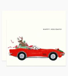 Illustrated by Dear Hancock. Illustrated Santa breezes by with Rudolph and presents in a red corvette.