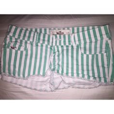 Hollister Shorts Mint green and white stripes. Hollister shorts. Hollister Shorts Jean Shorts