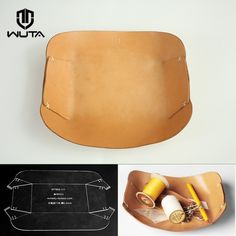 WUTA 903 Tool basket Acrylic Leather template Pallet Valet Tray Storage Basket Pattern Leather Craft DIY Cutting Leather Tools Leather Valet Tray, Leather Tooling, Leather Diy Crafts, Leather Projects, Industrial Farmhouse Decor, Handmade Leather Wallet, Leather Pattern, Small Leather Goods, Diy Home Crafts