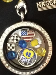 Jimmie Johnson Inspired Large 30mm Memory Locket W/Chain Nascar Necklace
