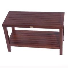 Decoteak Classic Teak Spa Shower Stool with Shelf - No Arms