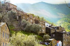 On the mountain, by the rivers, near the sea. Discover the most beautiful small villages of Portugal. Best Places In Portugal, Most Beautiful, Cabin, River, Mountains, House Styles, World, Amazing, Painting