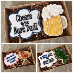Fathers Day is around the corner. Have you picked out fathers Day gifts? If not, then here are some fathers Day cookies which will be the best gift for dad. Fancy Cookies, Iced Cookies, Cute Cookies, Royal Icing Cookies, Cupcake Cookies, Sugar Cookies, Flower Cookies, Heart Cookies, Fathers Day Cupcakes
