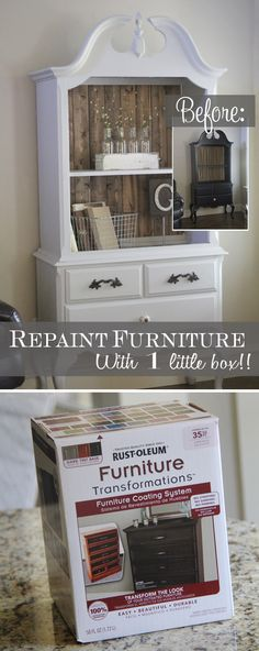 RESTYLE :: Rustolem Furniture Transformations Furniture Coating System :: No stripping sanding or priming...everything you need in the kit! Deglosser & bond coat (paint color) & optional glaze! | #rustoleumtransformations