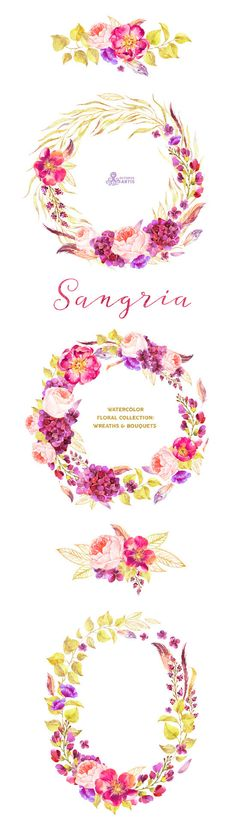 This set of high quality hand painted watercolor floral Wreaths and Bouquets in Hires. Perfect graphic for wedding invitations, greeting cards, photos, posters, quotes and more.  -----------------------------------------------------------------  INSTANT DOWNLOAD Once payment is cleared, you can download your files directly from your Etsy account.  -----------------------------------------------------------------  This listing includes 5 images:  3 x Wreath in PNG with transparent background…