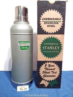 Vintage Stanley Super-Vac 2 Quart Vacuum Bottle Thermos Model #945 Original Box Stanley Vacuum, Stanley Thermos, The Originals, Bottle, Coolers, Vintage, Box, Kitchen, Model