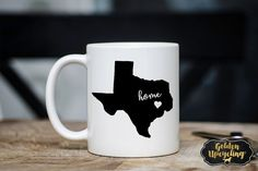 Texas Coffee Mug Texas Coffee Cup State Coffee by GoldenUpcycling