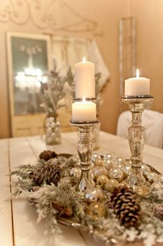 50 Affordable Christmas Table Centerpieces Ideas For Your Dining Room - Are you looking for Christmas table decoration ideas for your Christmas feasts? You need not worry because below are a couple of Christmas table decor. Christmas Table Centerpieces, Christmas Tablescapes, Xmas Decorations, Centerpiece Ideas, Christmas Candles, Holiday Tablescape, White Centerpiece, Winter Wonderland Centerpieces, Candlestick Centerpiece