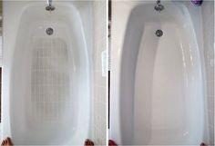 Blanquea tu bañera: Mezcla 2 cucharadas de carbonato y 2 cucharadas de bicarbonato de sodio en una mezcla homogénea y talla tu bañera húmeda con este polvo. Luego de 10 minutos mezcla 50 g de vinagre y 50 g de blanqueador y aplícalo sobre la capa de la primera mezcla. Al pasar media hora, lava la bañera con una gran cantidad de agua.